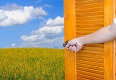 Ручка открыть двери руки человека тряся вал или раскрывает пустую дверь комнаты к природе стоковые изображения rf