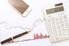 Ручка предпосылки, K-линия диаграмма, мобильный телефон, калькулятор стоковые фото