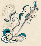 Ручка с абстрактным чертежом на backgrou бежа grunge Стоковое Изображение RF