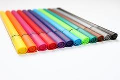 Ручка цвета Куча при ручки цвета изолированные на белой предпосылке Текстура предпосылки цвета, деятельность при войлок-ручки Пот стоковая фотография rf