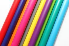 Ручка цвета Куча при ручки цвета изолированные на белой предпосылке Текстура предпосылки цвета, деятельность при войлок-ручки Пот стоковые изображения rf