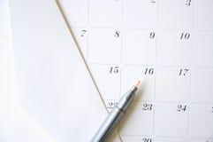 Ручка цвета на календаре Стоковые Фотографии RF