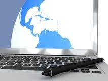 Ручка цифров и компьютер, картоведение, рисуя карты, перемещение иллюстрация штока