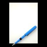 Ручка чернил и лист бумаги, 3D Стоковые Изображения