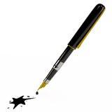 Ручка чернил и помарка, 3D Иллюстрация штока