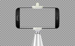 Ручка Selfie с чернью или сотовый телефон с прозрачной предпосылкой бесплатная иллюстрация