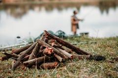 Ручки для костра на сельской местности Стоковая Фотография