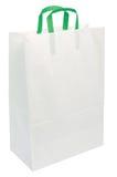 Ручки зеленого цвета мешка белой бумаги изолировали крупный план Стоковое Изображение RF