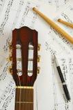 ручки счета пер нот гитары барабанчика Стоковое фото RF