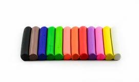 Ручки цвета глины моделирования на белизне Стоковое фото RF