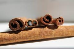 4 ручки циннамона в пятой части от конца, дневного света Стоковая Фотография RF