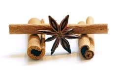 Ручки циннамона и анисовка звезды, на белизне Стоковые Фото