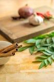 Ручки циннамона на шаре соуса Стоковое Фото