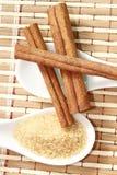 Ручки циннамона с тростниковым сахаром стоковые изображения rf