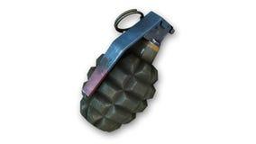 Ручная граната, граната фрагментации на белизне Стоковое Изображение RF