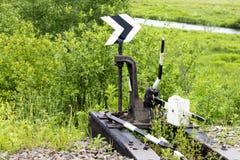 Ручная стрелка переключателя железной дороги Старые стрелки железной дороги стоковая фотография rf