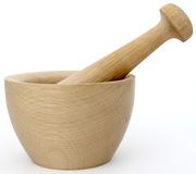 ручной пестик ступки деревянный Стоковая Фотография