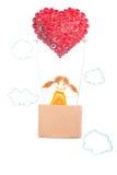 Ручной работы бумажного quilling метода связанный вектор Валентайн иллюстрации s 2 сердец дня Стоковые Фото