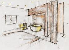 Иллюстрация эскиза для дизайна интерьера Стоковое Изображение RF