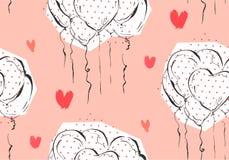 Ручной работы картина дня валентинок приветствию конспекта вектора безшовная иллюстрация вектора