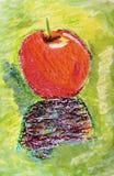 Яблоко покрашенное рукой Стоковые Фото