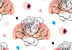 Ручной работы конспект вектора текстурировал ультрамодный творческий всеобщий коллаж безшовная картина с флористическим мотивом п Стоковая Фотография