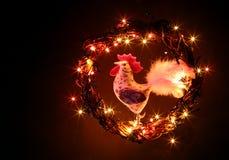 Ручной работы петухи ремесла украшения Счастливый Новый Год и с Рождеством Христовым карточка шаблона праздника стоковые фотографии rf