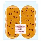 Ручной работы печенье обломока шоколада, свеже испеченное в пакете коробки прозрачной пластмассы изолированном на белой предпосыл бесплатная иллюстрация