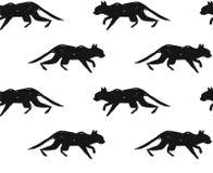 Ручной работы скандинавская нордическая черно-белая картина при силуэт черного кота изолированный на белой предпосылке просто иллюстрация вектора