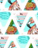 Ручной работы экзотическая безшовная картина при тропические листья, ананас и розовый фламинго на абстрактное геометрическом изол Стоковая Фотография