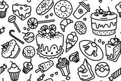 Ручной работы эскиз комплектов чая также вектор иллюстрации притяжки corel бесплатная иллюстрация