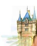Ручной работы эскиз старого французского замка Стоковое Фото