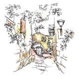 Ручной работы эскиз старой улицы Стоковое Изображение