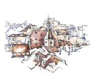 Ручной работы эскиз старой улицы Стоковые Фото