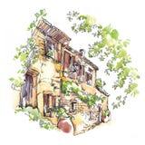 Ручной работы эскиз старой улицы Стоковые Фотографии RF