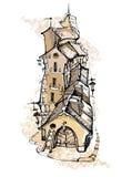 Ручной работы эскиз старой улицы Стоковое Изображение RF