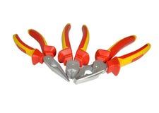 Ручные инструменты metalwork: кругл-обнюханные плоскогубцы, острозубцы, плоскогубцы Стоковое Фото