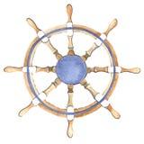 Рулевое колесо корабля акварели Стоковое Изображение