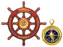 Рулевое колесо корабля и золотого компаса Стоковые Фотографии RF