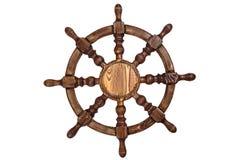 Рулевое колесо корабля на белой предпосылке стоковое изображение