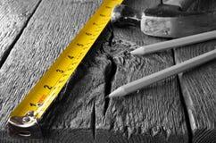 Рулетка и карандаши Стоковые Изображения RF