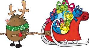 Рудольф красная обнюханная иллюстрация рождественской открытки ежа Стоковые Фотографии RF