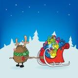 Рудольф красная обнюханная иллюстрация рождественской открытки ежа Стоковое Фото