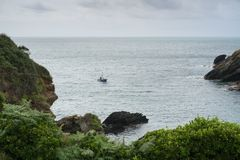 Рыбацкая лодка приходя внутри, Portloe, Корнуолл, Великобритания стоковые изображения