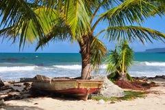 Рыбацкая лодка с сетями на Доминиканской Республике карибского моря стоковые фотографии rf