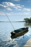 Рыбацкая лодка на пруде Rozmberk Стоковое фото RF