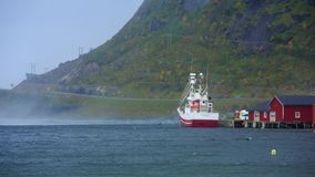 Рыбацкая лодка с сильным ветером в заливе видеоматериал