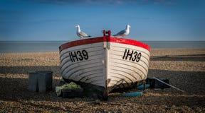 Рыбацкая лодка с чайками Стоковое Изображение