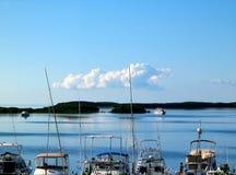 Рыбацкие лодки причалили с Islamorada в ключах Флориды с другими шлюпками на воде позади стоковая фотография rf
