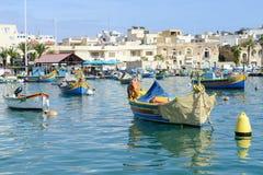 Рыбацкий поселок Marsaxlokk на острове Мальты Стоковое Изображение